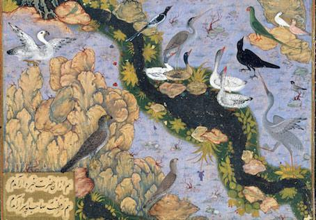 Persian miniature by Habib Allah The Conference of the Birds